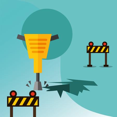 construction jackhammer drilling and barriers traffic equipment vector illustration Ilustração
