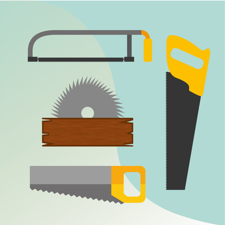 carpentry construction circular saw blade hand saw vector illustration Illustration