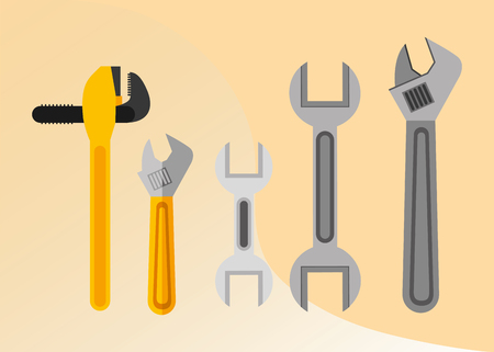 construction plumber tools equipment pipe wrench spanner adjustable vector illustration