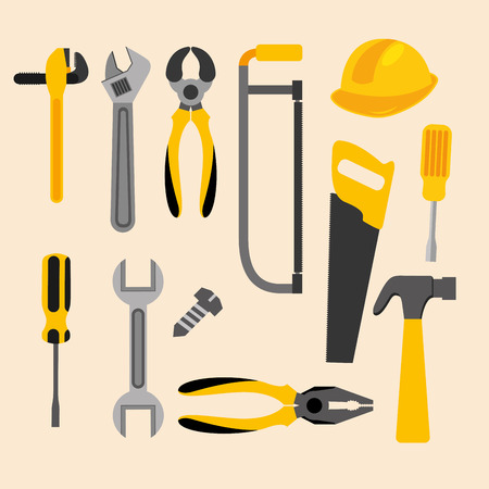 construction plumber carpentry tools equipment vector illustration