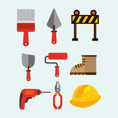 construction tools equipment spatula roller drill barrier boot pliers vector illustration
