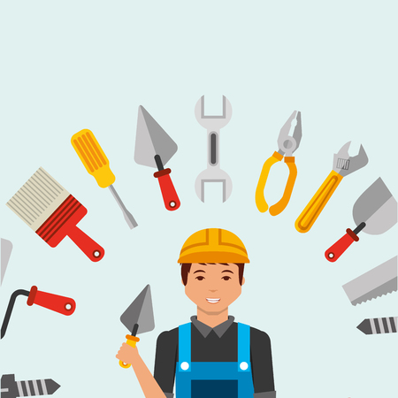 construction worker holding spatula and tools vector illustration