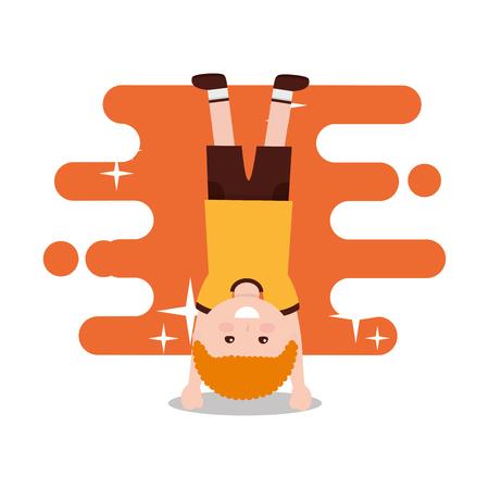 happy boy standing on his hands vector illustration Illusztráció