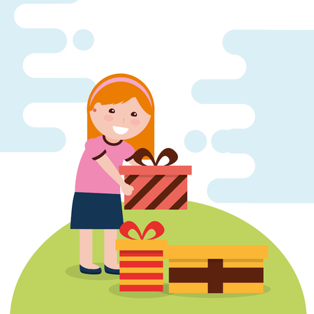 young happy girl holding a bright gift box and many presents in floor vector vector illustration
