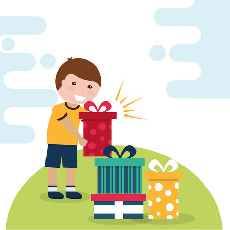 happy young boy holding gift box and various boxes in floor vector illustration
