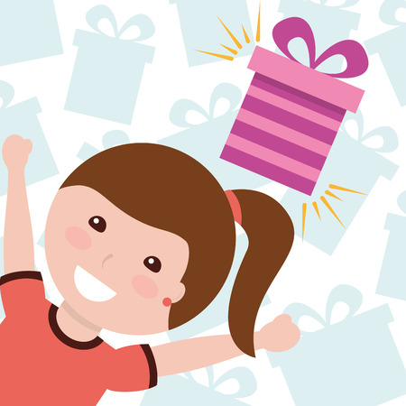 cute little girl with gift boxes celebration vector illustration