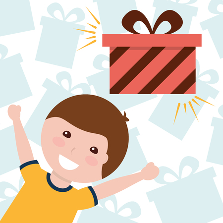 cute little boy with gift boxes decoration vector illustration Stock Vector - 98410706