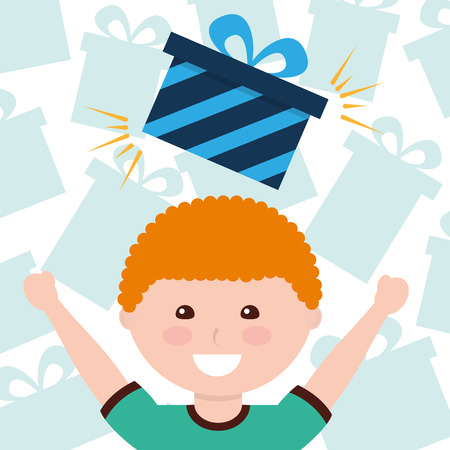 cute little boy with gift boxes decoration vector illustration