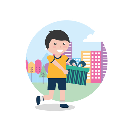 young boy happy holding gift box in hands with city background vector illustration Illustration