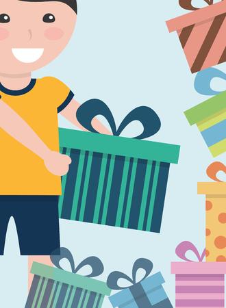 young boy choosing gift boxes ornament decoration vector illustration Иллюстрация