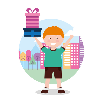 young boy happy holding gift box in hands with city background vector illustration Foto de archivo - 98410640
