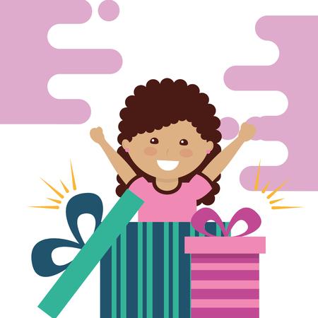 little girl happy inside open gift box party celebration vector illustration
