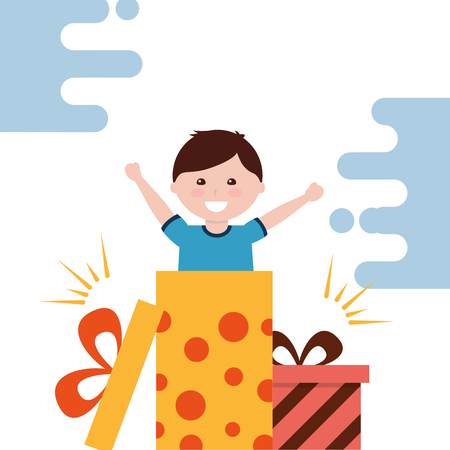 cute little boy surprise gift box coming out vector illustration Stock Vector - 98410646