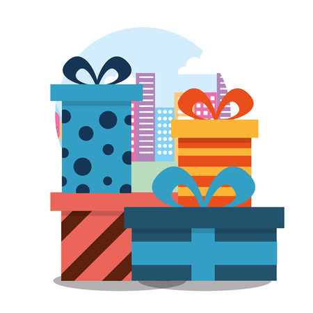 stack wrapped gift boxes bow decoration striped and dots vector illustration