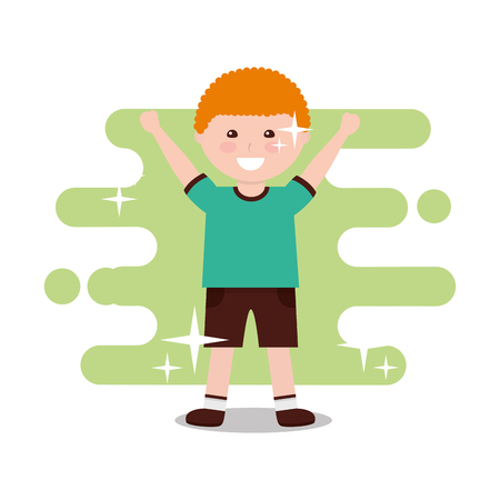 happy little boy character arms up funny vector illustration