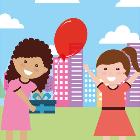 girl giving gift to another girl in city - kids happy birthday