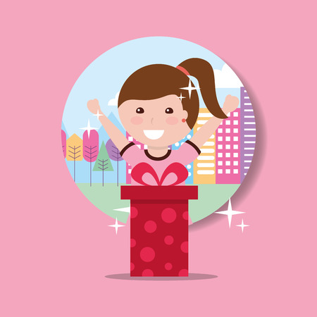 happy young girl holding gift box and city background