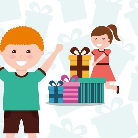cute girl giving gift box a friend happy birthday