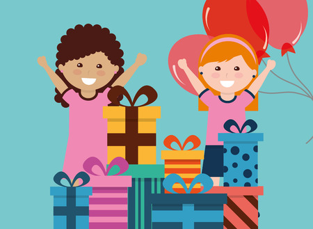 Cute two girl with gift boxes in front and red balloons at the back. Illustration