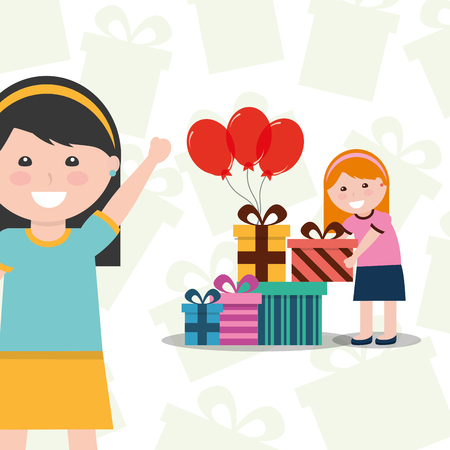 A girl at the back with gift boxes and red balloons and a girl in front waving. Иллюстрация