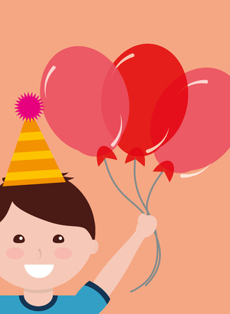 Cute smiling boy with party hat holding three red balloons.