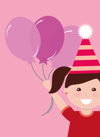 Cute little girl with party hat holding three balloons.