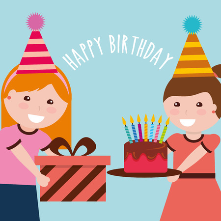 Two girls wearing a party hat. One girl holding a gift box and the other one is holding a cake with candles on top.