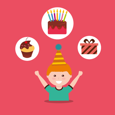 A boy wearing a party hat with partially eaten cupcake, birthday cake with candles, and a gift box on the top in circles.