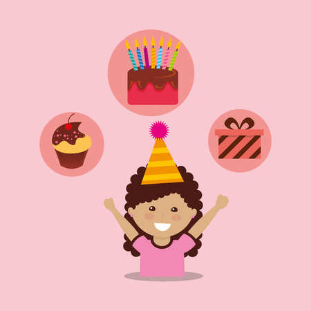 A girl wearing a party hat with partially eaten cupcake, birthday cake with candles, and a gift box on the top in circles.