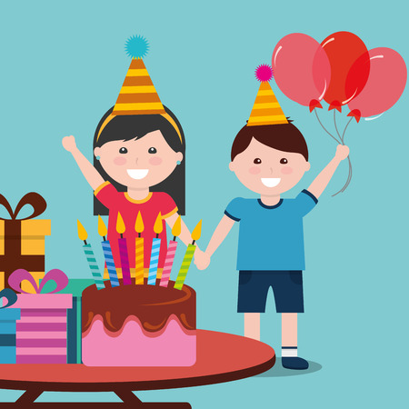 A girl hand in hand with a boy holding three red balloons both wearing a party hat and a table in front with birthday cake and gift boxes at the top. Illustration