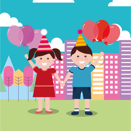 A girl and boy hand in hand both wearing a party hat holding balloons with buildings and trees at the back.