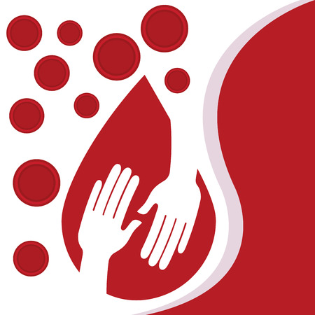 Blood donation day - hands in drop blood cells illustration.