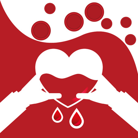 Hands holding a dripping heart - blood donation day illustration. Ilustração