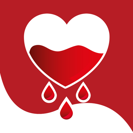 Blood donation day campaign illustration of a half filled heart dripping with blood.