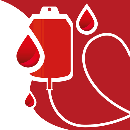 Blood bag and blood drops for donation day healthcare campaign illustration.