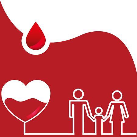 family together heart with blood donation day vector illustration