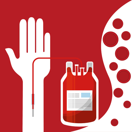 Arm with blood donor bag transfusion for donation day.