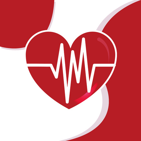 Blood donation day illustration - a heart with pulse beat cardio. Banco de Imagens - 98839989