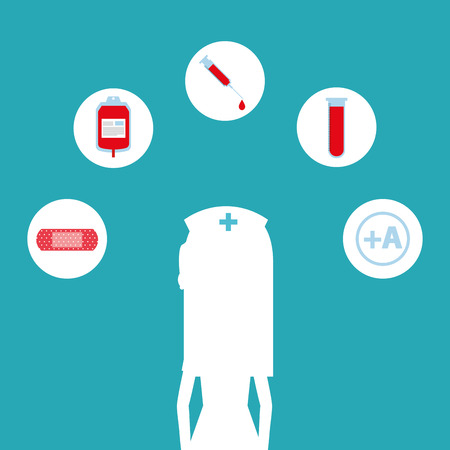 Silhouette of a female nurse with blood donation icons above for campaign medical illustration.
