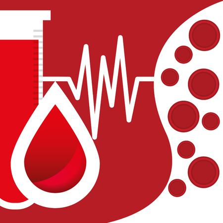 Laboratory test tube and a drop blood for donation day campaign illustration.