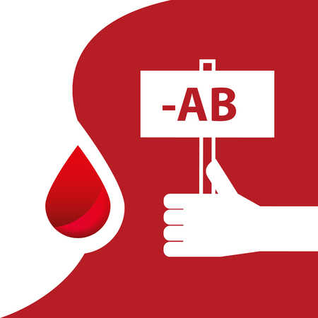 Blood donation day campaign - hand holding the blood AB type board. Illustration
