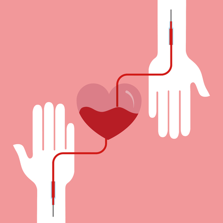 Blood donation day campaign - hands with transfusion heart bag. Ilustração