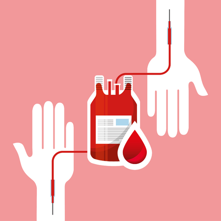Blood donation day campaign - hands transfusion bag and blood drop illustration.
