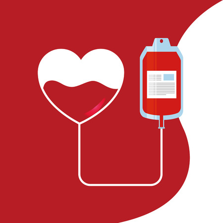 Heart and bag blood donor transfusion for medical care illustration. Stock Illustratie