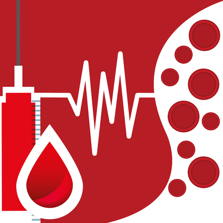 Blood donation day campaign illustration - syringe with pulse rate, a drop of blood and cells.