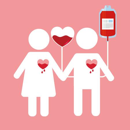 Un couple avec un c?ur dégoulinant et un sac de sang. Banque d'images - 98841599