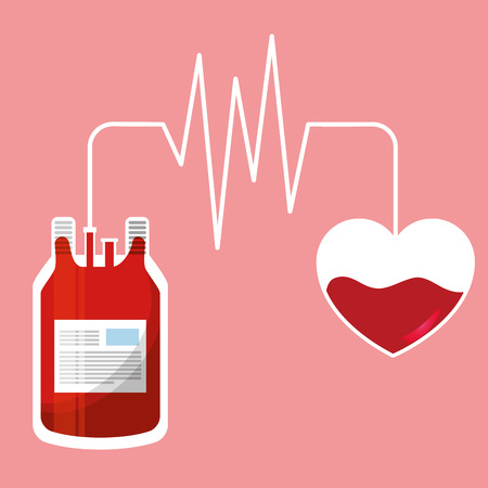 Blood bag and heart connected by a pulse rate.