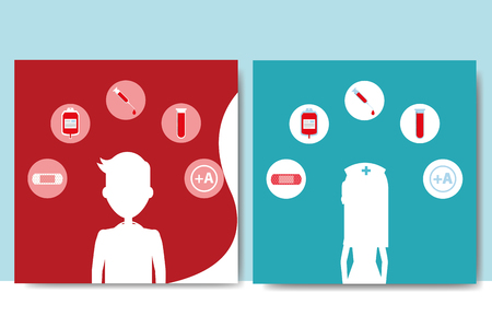 Blood donation day - silhouette of a man and woman with  medical health care icons. Illustration