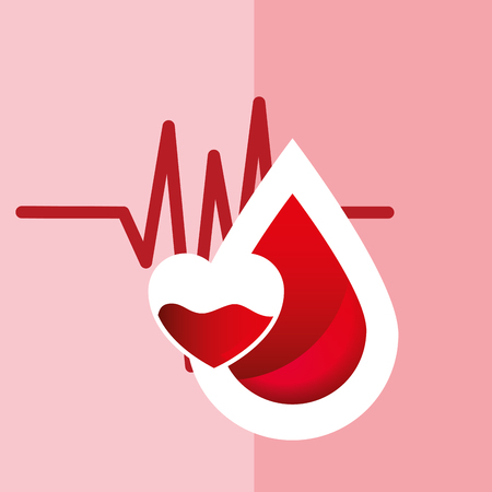 Pulse rate with a heart and a drop of blood illustration.
