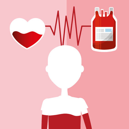 A silhouette of a person with a heart above connected by a pulse rate to a blood bag. Illustration